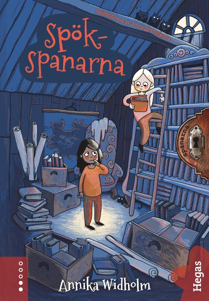 Blått bokomslag två flickor på biblioteket Spökspanarna barnbok författare Annika Widholm illustratör Jonna Björnstjerna