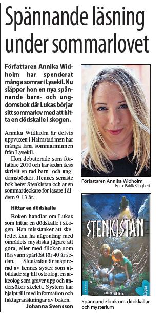 Intervju i Lysekilsposten om Stenkistan Annika Widholm