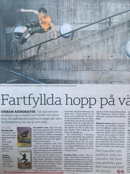 Artikel om parkour och recension av Luftsprång i Svenska Dagbladet