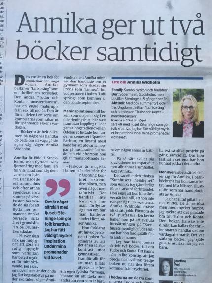 Intervju i Hallandsposten om Luftsprång och Monsterdansen Annika Widholm