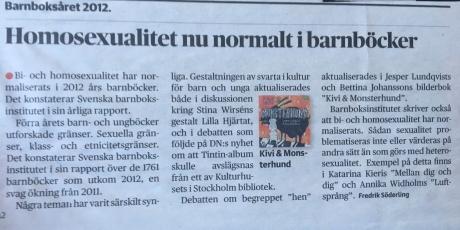 Notis i Dagens Nyheter om bokåret 2012 om att homosexualitet i barnböcker