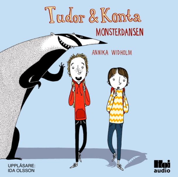 Ljusblått bokomslag på grävling och två pojkar av barnboken och ljudboken Monsterdansen författaren Annika Widholm illustratör Mia Nilsson uppläsare Ida Olsson