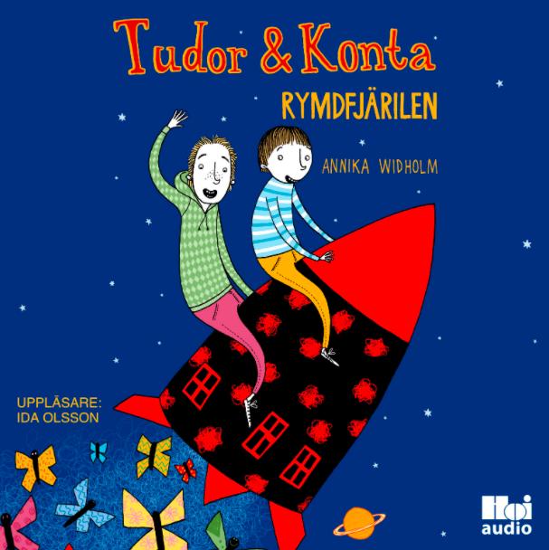 Blått och rött bokomslag till barnboken och ljudboken Rymdfjärilen av författaren Annika Widholm illustratör Mia Nilsson uppläsare Ida Olsson