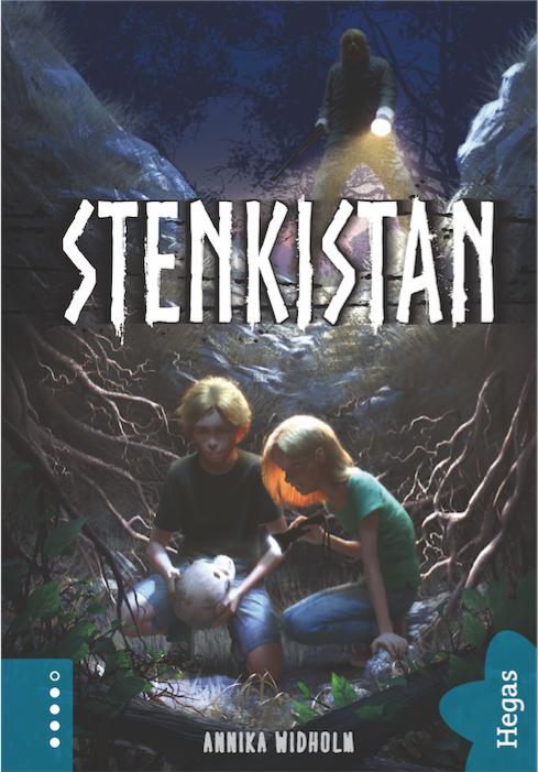 Stenkistan barnbok bokomslag två barn med ett kranium arkeologisk deckare Annika Widholm