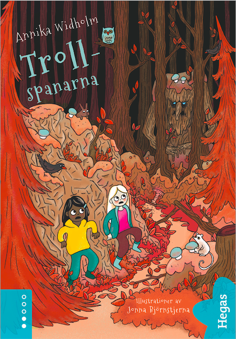 Trollspanarna röd skog bokomslag med troll barnbok av författare Annika Widholm illustratör Jonna Björnstjerna